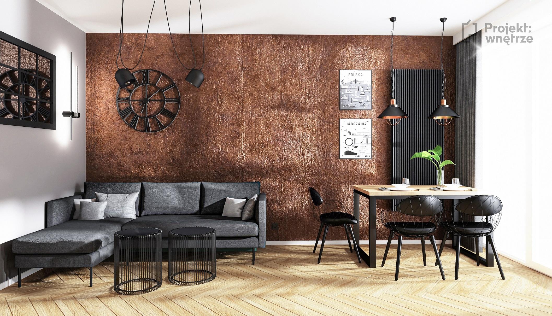 Projekt wnętrze salon w stylu loft cegła ściana jeger oxyd szare czarne lustro loft podłoga jodełka panel winylowy - projektowanie wnętrz Warszawa online (4)