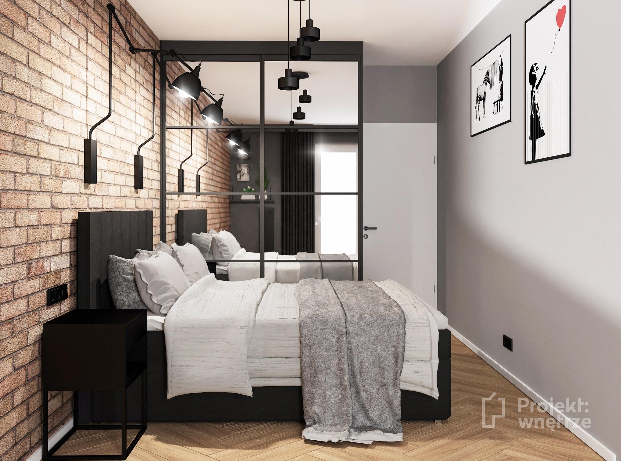 Projekt wnętrze sypialnia w stylu loft cegła czarna szafa ze szprosami customform ikea wikhammer - projektowanie wnętrz Warszawa online (4)